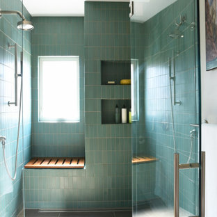 75 Beautiful Turquoise Bathroom With Brown Cabinets Pictures Ideas August 2020 Houzz