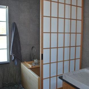 Inspiration for a zen bathroom remodel in Boston
