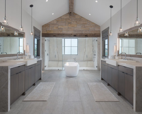 Inspiration for a rustic master beige floor bathroom remodel in Other with flat-panel cabinets