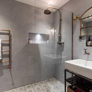 Mid Sized Urban Cement Tile Floor And Gray Floor Bathroom Photo In London  With Open
