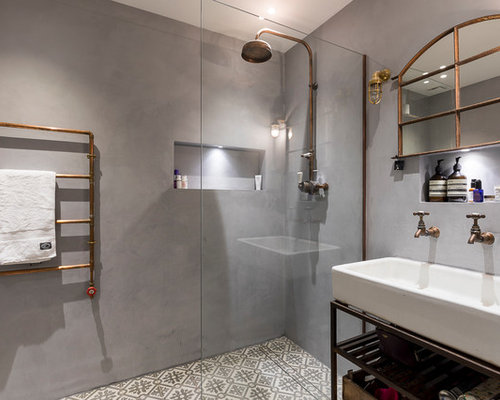 salle de bain industrielle avec un sol en carreaux de ciment photos et id es d co de salles de. Black Bedroom Furniture Sets. Home Design Ideas
