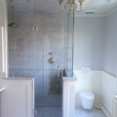 Transitional Bathroom by Downey Contracting LLC