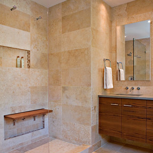 Inspiration for a craftsman porcelain tile bathroom remodel in Los Angeles with an undermount sink