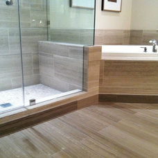 Contemporary Bathroom Shower and tub deck