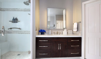 Shower and vanity - light colors and dark cabinets