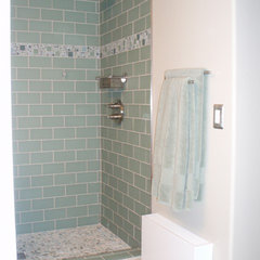 contemporary bathroom Shower before glass enclosure