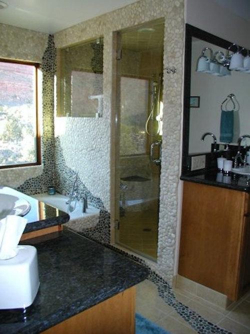 Salt Lake City Ensuite Bathroom With Pebble Tiles Ideas Designs Pictures