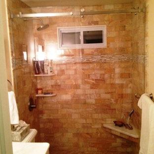 ボストンのトラディショナルスタイルのおしゃれな浴室 (アルコーブ型シャワー、テラコッタタイル) の写真