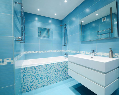 Minimalist Blue Tile Floor Bathroom Photo In Minneapolis With A Wall Mount Sink And