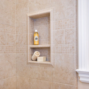 Example of a mid-sized classic kids' beige tile and porcelain tile bathroom design in San Francisco with beige walls