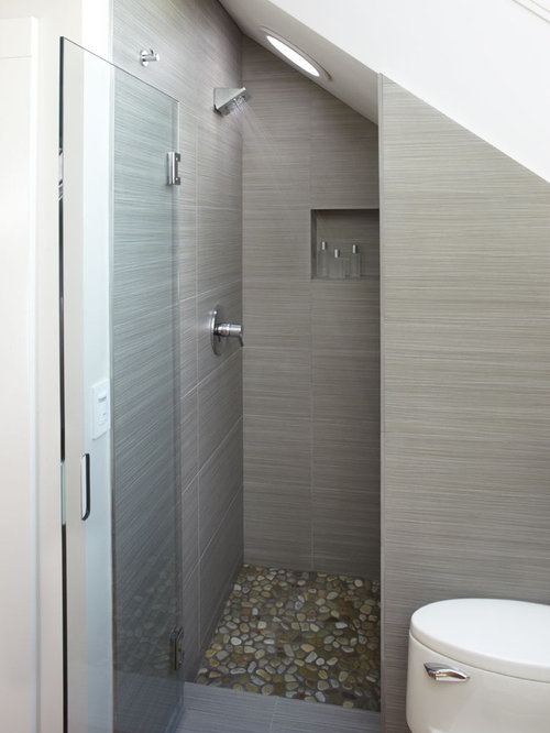Shower under stair houzz for Bathroom design under stairs