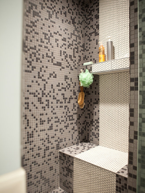 craftsman bathroom idea in edmonton with mosaic tile