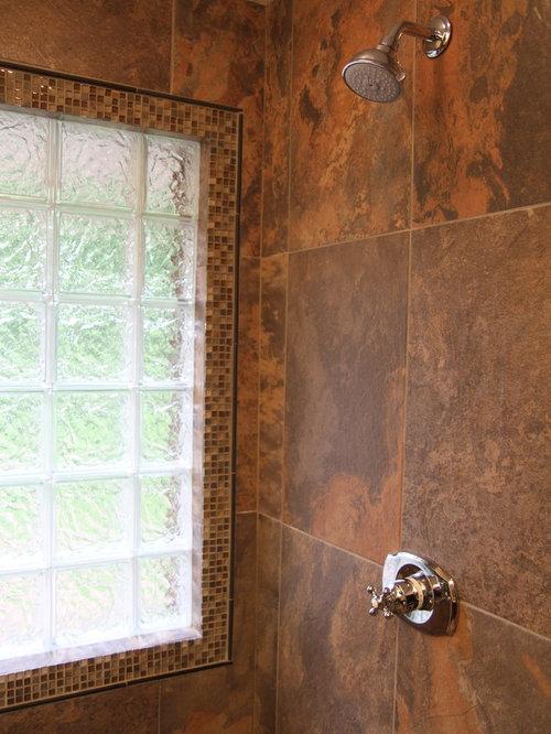Rustic Glass Block Bathroom Design Ideas Remodels Photos
