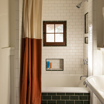 Shower within Boy's Bath of a historic Craftsman residence in Santa Monica, CA