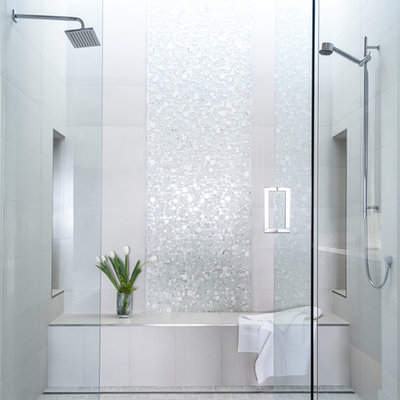 Bathroom - large transitional master white tile and mosaic tile marble floor bathroom idea in Sacramento with white walls