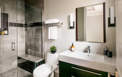 Dark Materials Add Drama to a 55-Square-Foot Bathroom