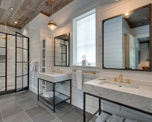 example of a country master gray tile bathroom design in other with white walls a - Master Bathroom Ideas Pictures