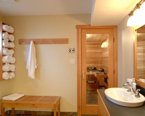 Badezimmer mit laminat waschtisch und steinfliesen ideen - Badezimmer laminat ...