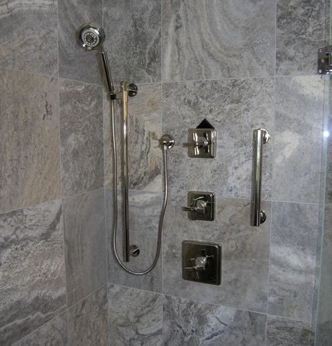 Silver Travertine Tile Home Design Ideas, Pictures, Remodel and Decor