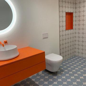 Silverlake Blue Dots and Orange Pops Bath Remodel