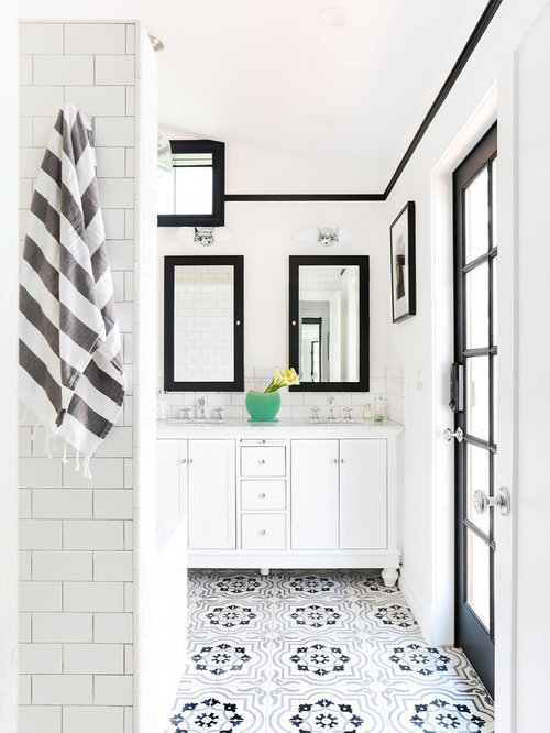 Bathroom Mid Sized Scandinavian Master Black And White Tile And Cement Tile Mosaic Tile