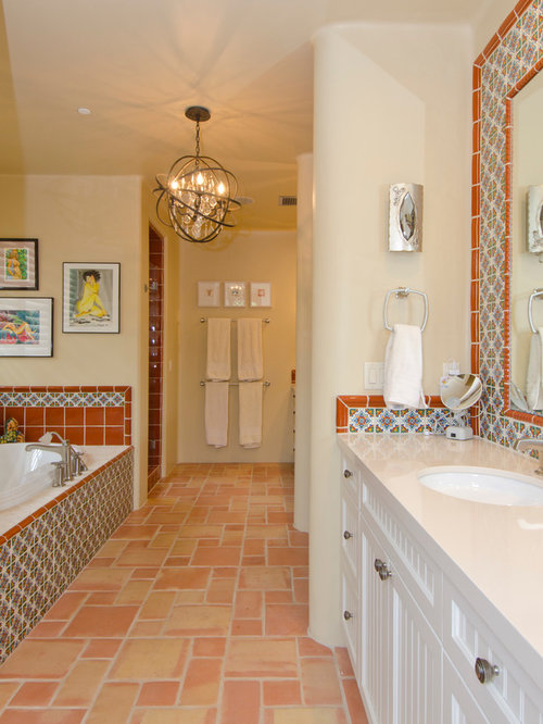 Southwestern Bath Design Ideas Pictures Remodel Decor With White Cabinets