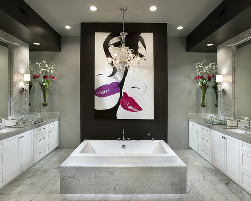 bathroom artwork. Inspiration for a contemporary gray tile drop in bathtub remodel Phoenix  with an undermount Bathroom Artwork Houzz