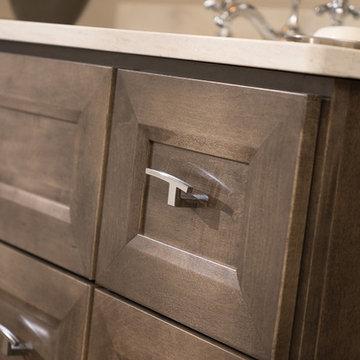 Simple and Sleek, Beveled Bathroom Cabinet Door Style Close Up