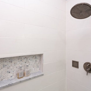 Large transitional 3/4 white tile and ceramic tile ceramic tile alcove shower photo in Chicago with an undermount sink, beaded inset cabinets, white cabinets, marble countertops, a two-piece toilet and blue walls