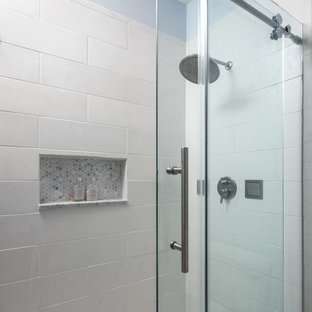 Inspiration for a large transitional 3/4 white tile and ceramic tile ceramic tile alcove shower remodel in Chicago with an undermount sink, beaded inset cabinets, white cabinets, marble countertops, a two-piece toilet and blue walls