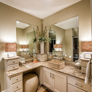 Mid-sized transitional 3/4 beige tile and porcelain tile porcelain floor bathroom photo in Other with a vessel sink, beige cabinets, beaded inset cabinets and beige walls