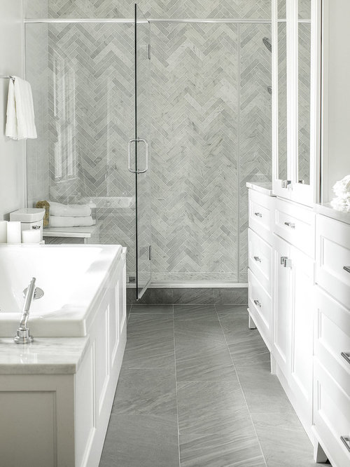 mid sized modern master gray tile and subway tile porcelain floor bathroom idea in new - Recessed Panel Bathroom Decoration
