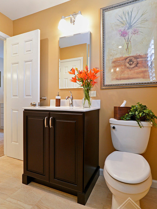 Bathroom design ideas renovations photos with brown for Orange and brown bathroom ideas