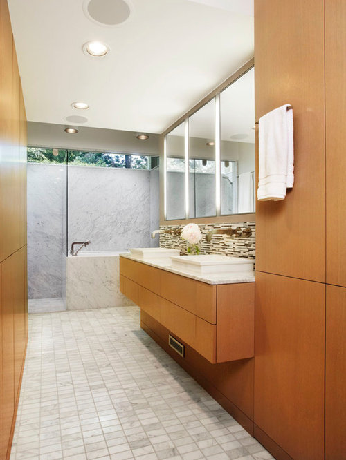 midcentury floor to ceiling cabinets bathroom design ideas