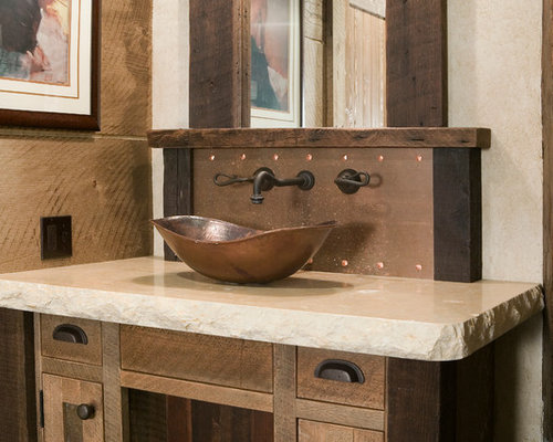 Log Bathroom Vanity Cabin Rustic With Hammered Copper