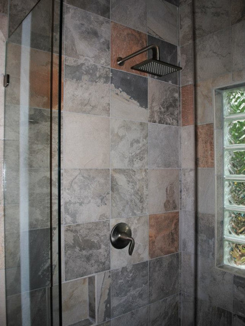 Bathroom Remodel with Mid Continent Cherry Cabinetry Slate Gray Tile