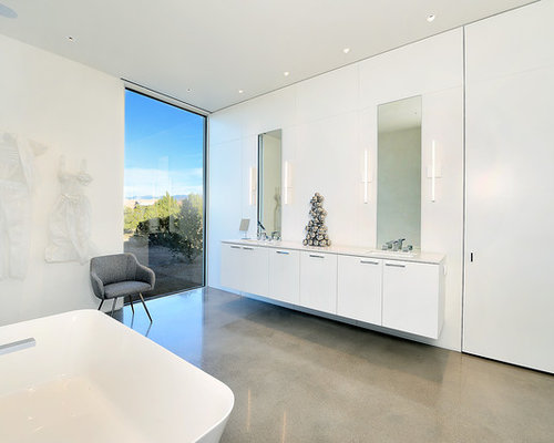 Example Of A Minimalist Master Concrete Floor And Gray Bathroom Design With Flat Panel