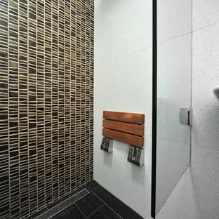 Inspiration for a small modern 3/4 brown tile and porcelain tile porcelain tile walk-in shower remodel in Los Angeles with brown walls