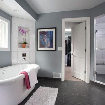 Sleek master bathroom
