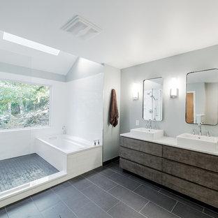 Sleek modern master bathroom