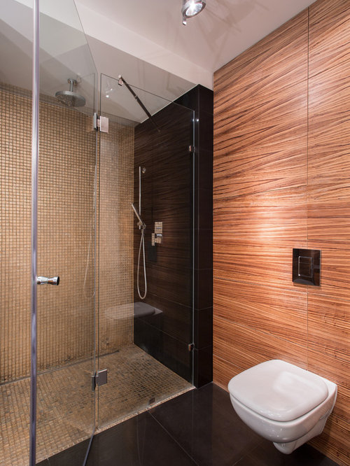 Bathroom design ideas renovations photos with beige tile and black walls - Black and beige bathroom ...