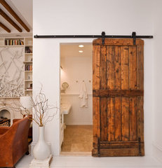 eclectic living room sliding barn door