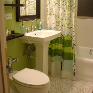 Small eclectic white tile and ceramic tile mosaic tile floor bathroom photo in Chicago with a pedestal sink and green walls