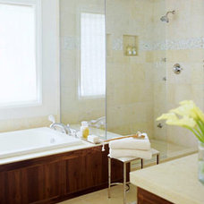 Traditional Bathroom Small Bathroom Solution, glass enclosed shower, separate shower and tub, open
