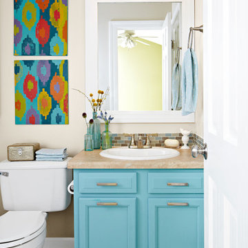 Small Bathroom Update with a Pop of Color