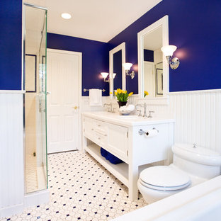 Inspiration for a timeless multicolored floor double shower remodel in Chicago