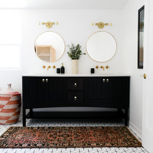 Bathroom - eclectic ceramic floor and white floor bathroom idea in San Francisco with black cabinets