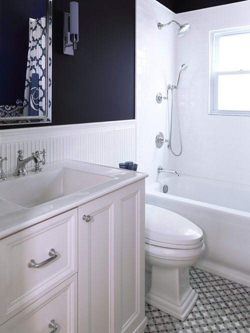 inspiration for a mid sized timeless white tile and ceramic tile mosaic tile floor bathroom - Bathroom Accessories Kohler