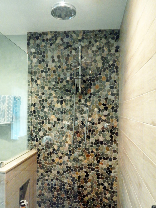 Example Of A Mid Sized Coastal 3 4 Beige Tile And Pebble Vinyl