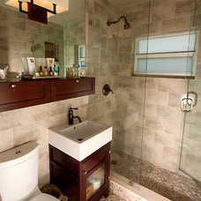 Transitional Bathroom by The Painted View Inc